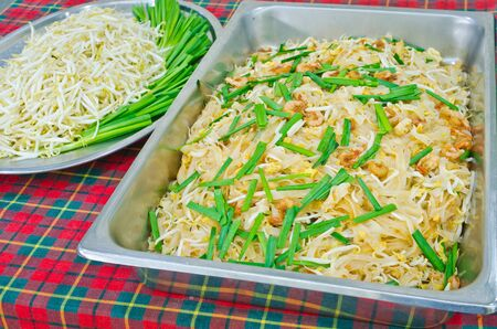 Thai food Pad thai , Stir fry noodles with shrimp and omelet, for preparation serving Stock Photo - 18513433