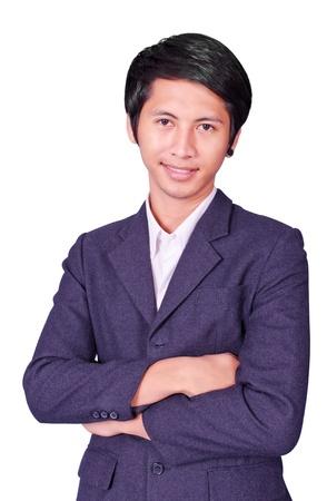 Asia business man on white background photo