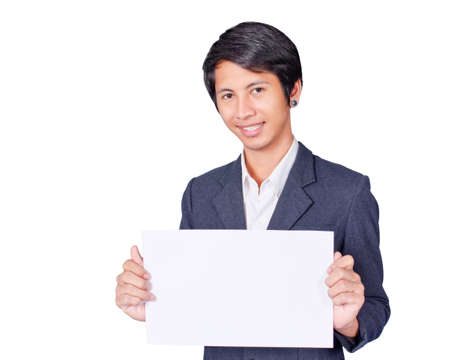 A man is holding an A4 piece of paper, for your message  photo