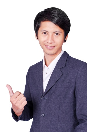 Thumbs up by Business man on isolated photo