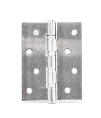 hinges: Stainless Steel Door Hinges On White Background Stock Photo