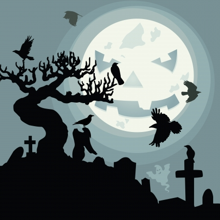 A funny moon over the cemetery in the dark Halloween night Illustration