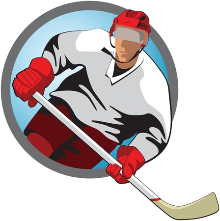 slap: Hockey player with a stick in oval frame