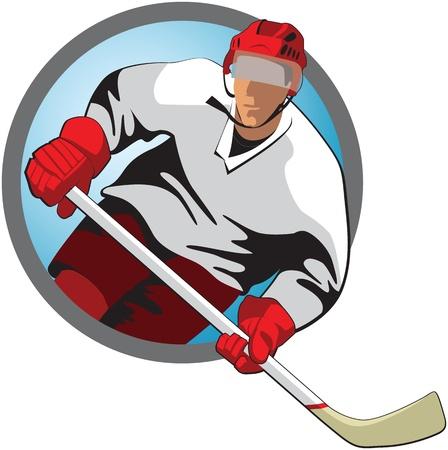 acolchado: Jugador de hockey con un palo en marco oval