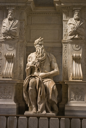 bible ten commandments: Michelangelo Buonarotti s Moses statue in the church of San Pietro in Vincoli in Rome  Renaissance sculpture Stock Photo