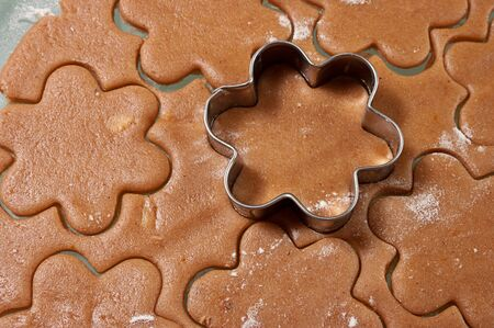 Baking gingerbread cookies, cutters with dough in flower form photo