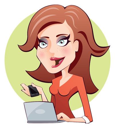 Sexy jonge roodharige mooie vrouw met sproeten die aan een computer en met een slimme telefoon Stock Illustratie