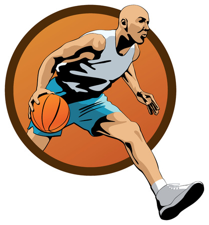 dribbling: Professional Basketball Player dribbling with a ball and jumping out of orange oval frame