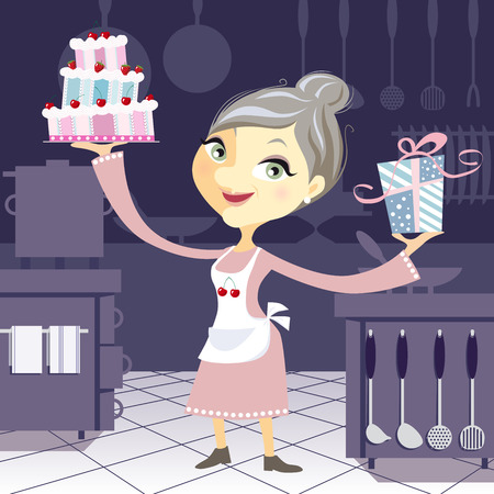 commercial kitchen: Happy grandmother in the kitchen holding a fancy birthday cake and a present. Cartoon character on blue background. Illustration