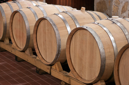 Oak barrels in which the wine matures at a winery