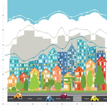 Vector city with chart infographic made of trees, houses, skyscraper and clouds. Text space in blue. Illustration