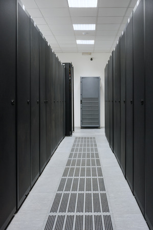 Real Server Room at Data Center - Server Rack, Power Supply and Air Conditioning Systems shown, no 3D