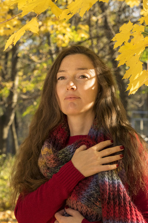 between 30 and 40 years: Woman with brown hair at autumn forest. Hug with a multicolored scarf.