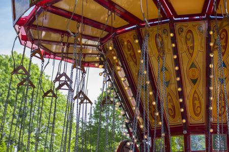 Chain swing carousel ride roof detail Reklamní fotografie
