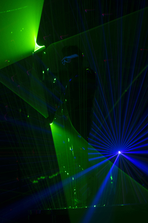 Disco dance with special effects and fantastic laser show Stock Photo
