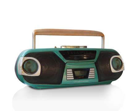 antique radio cassette on white background, technology, object, copy space