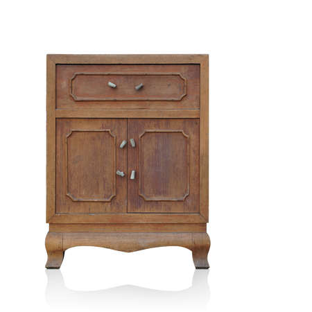 front view old storage cabinet table on white background, object, furniture, vintage, retro, copy space Foto de archivo