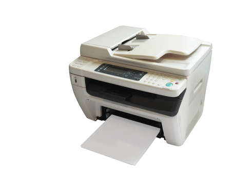 top view white and gray printer and paper on white background, technology, object, office, copy space