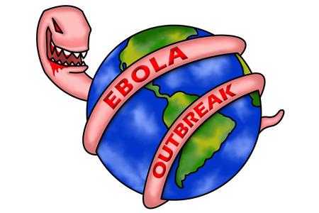 outbreak: A conceptual illustration of the ebola virus outbreak. Stock Photo