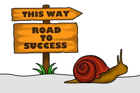 toward: An illustration of a snail crawling heading towards success.