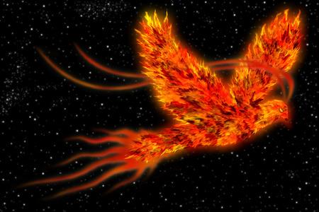 ave fenix: Un arte de un pájaro mitológico conocido como ave fénix, ave de fuego volando en el espacio.