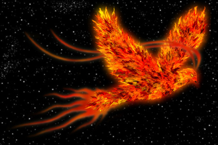 An art of a mythological bird known as phoenix, a bird on fire flying in space.