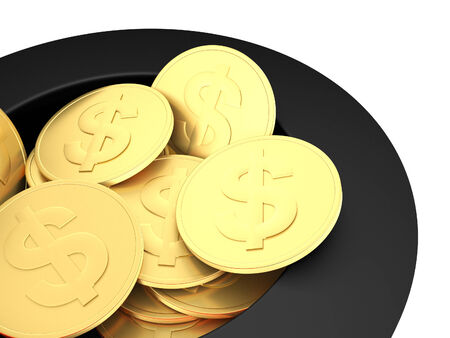 fast money: 3d illustration of gold dollar coins close up.