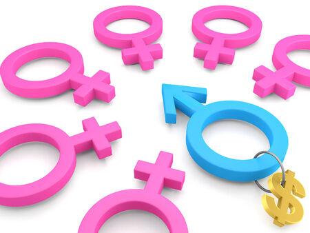fascinação: 3d sinais do sexo feminino com um conceito de masculino e mulheres são atraídos para homem rico.