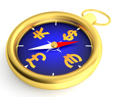 3d illustration of a money compass. illustration