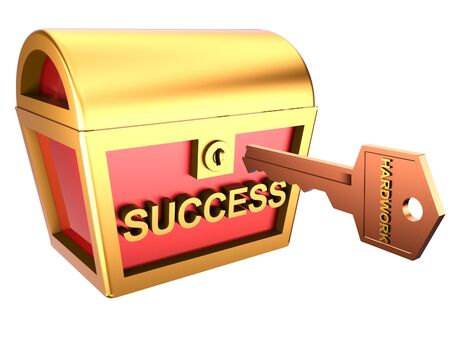 accomplish: 3d illustration of a key and a treasure chest symbolizes hard work and success.