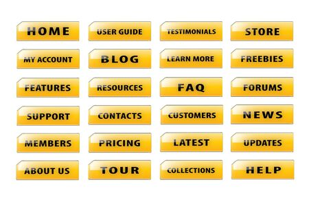 version: Popular and common buttons for making a website version 4. Stock Photo