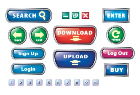 ウェブサイトを作成する基本的なボタンのセットです。 写真素材