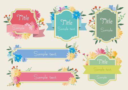 Elegant Flower Frame Set Ilustrace