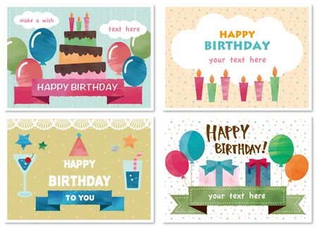 Set of birthday cards Ilustrace