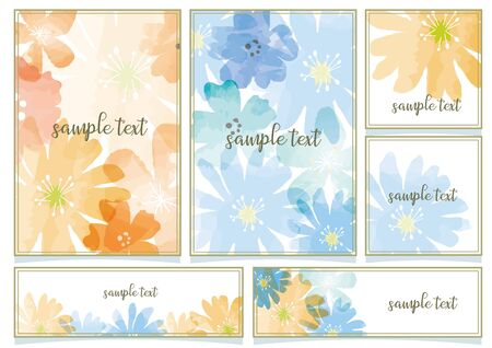Watercolor Flower Frame Set 일러스트