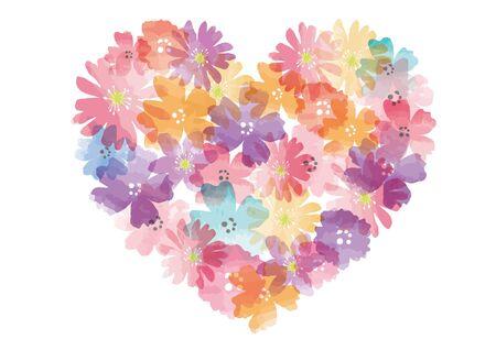 Cadre coeur fleur aquarelle