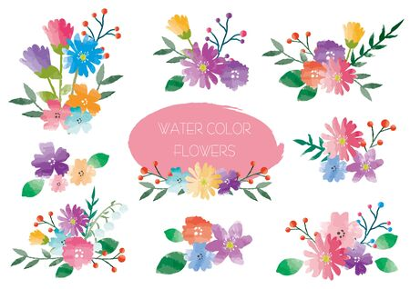 Watercolor Flower Material Set Ilustrace
