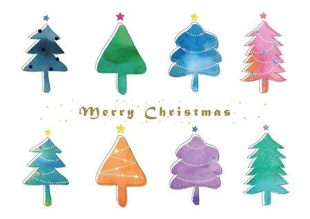 Watercolor Christmas Tree Set Ilustrace