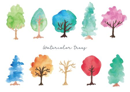 Watercolor Tree Set Ilustrace