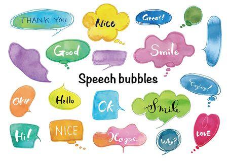 Watercolor_Handwritten speech bubble set