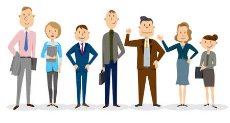 Business_Men and Women_Smiles Vector Illustration