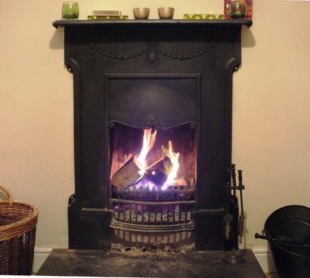 log fire: An open log fire