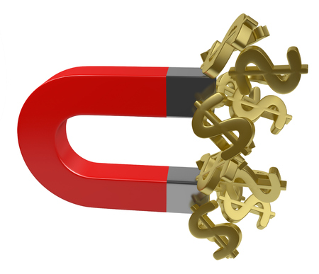 magnt attract money golden Stock Photo