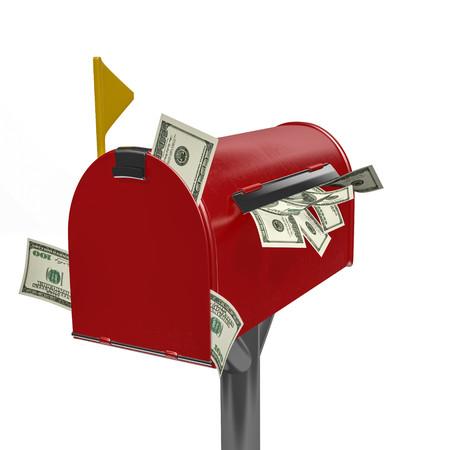 Money in mailbox Stock Photo