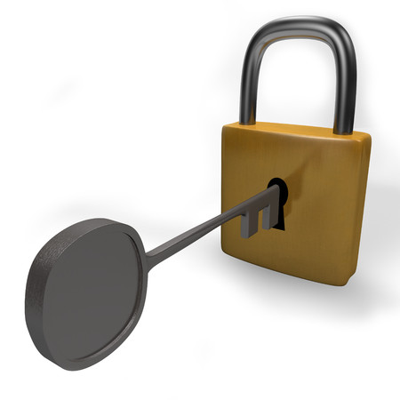 3D render Padlock isolated on white Background
