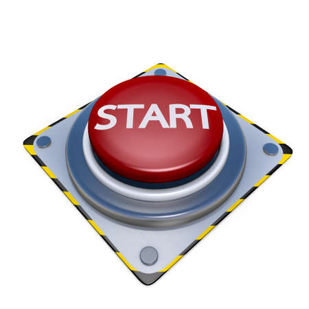 Red button start  isolated on white background Stock Photo