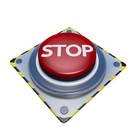 Red button stop isolated on white background Stock Photo