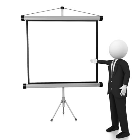 3d man Standing in front of the projector