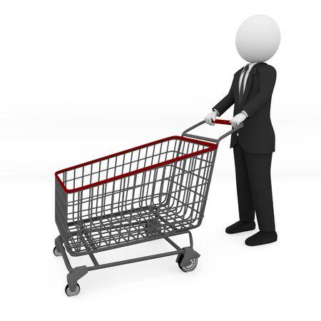 businessman shopping  Isolated On White Background