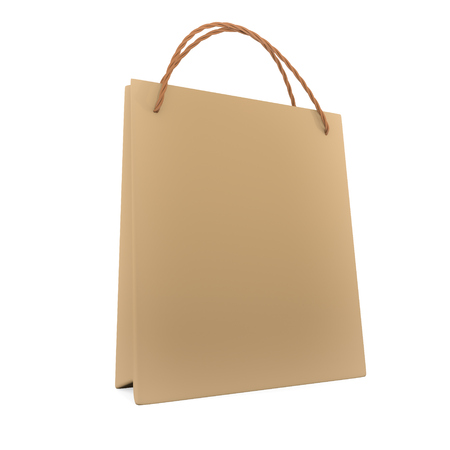 3d render  Paper Bag Isolated On White Background